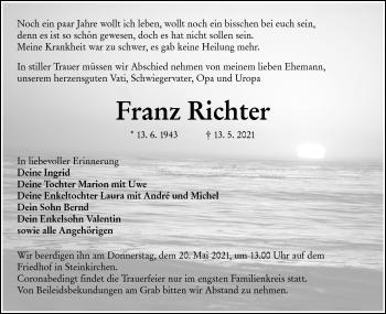 Traueranzeige von Franz Richter von lausitzer_rundschau