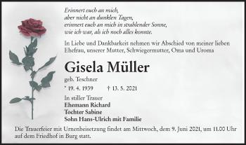 Traueranzeige von Gisela Müller von lausitzer_rundschau