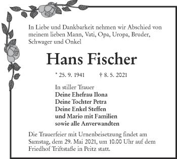 Traueranzeige von Hans Fischer von lausitzer_rundschau
