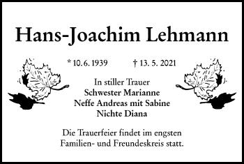 Traueranzeige von Hans Joachim Lehmann von lausitzer_rundschau