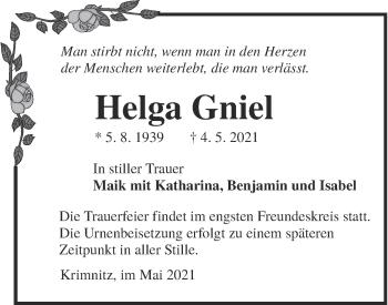 Traueranzeige von Helga Gniel von lausitzer_rundschau