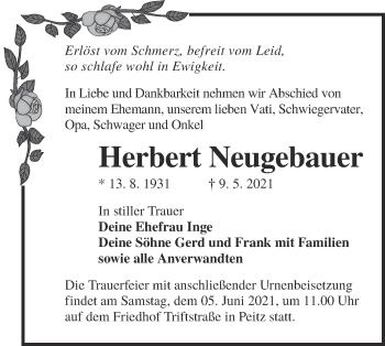 Traueranzeige von Herbert Neugebauer von lausitzer_rundschau