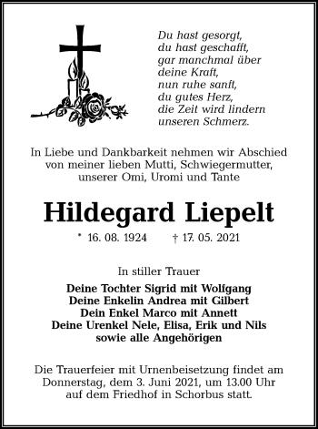 Traueranzeige von Hildegard Liepelt von lausitzer_rundschau
