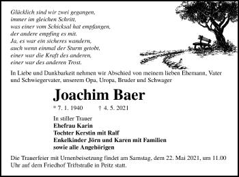 Traueranzeige von Joachim Baer von lausitzer_rundschau