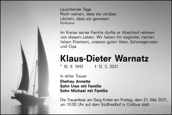 Traueranzeige von Klaus-Dieter Warnatz von lausitzer_rundschau