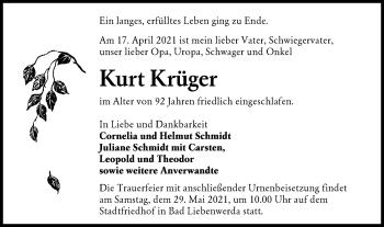 Traueranzeige von Kurt Krüger von lausitzer_rundschau