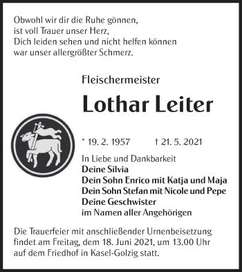 Traueranzeige von Lothar Leiter von lausitzer_rundschau