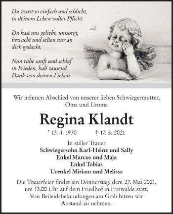 Traueranzeige von Regina Klandt von lausitzer_rundschau