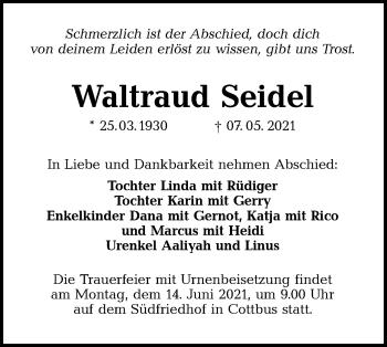 Traueranzeige von Waltraud Seidel von lausitzer_rundschau