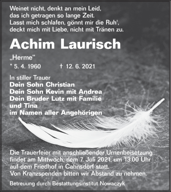 Traueranzeige von Achim Laurisch von lausitzer_rundschau