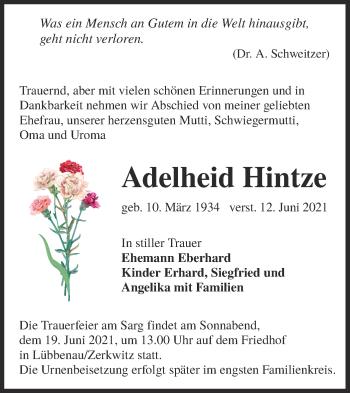Traueranzeige von Adelheid Hintze von lausitzer_rundschau