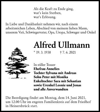 Traueranzeige von Alfred Ullmann von lausitzer_rundschau