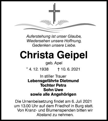 Traueranzeige von Christa Geipel von lausitzer_rundschau