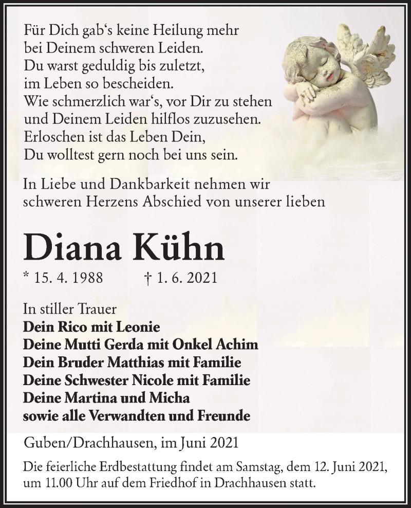 Traueranzeige für Diana Kühn vom 08.06.2021 aus lausitzer_rundschau