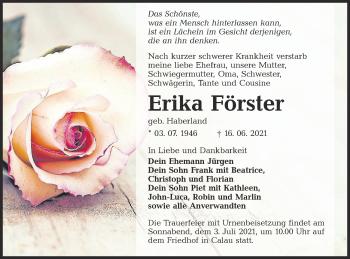 Traueranzeige von Erika Förster von lausitzer_rundschau