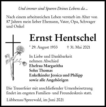 Traueranzeige von Ernst Hentschel von lausitzer_rundschau