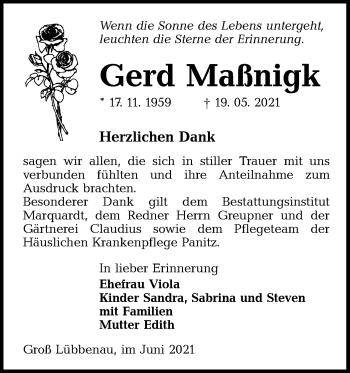 Traueranzeige von Gerd Maßnigk von lausitzer_rundschau