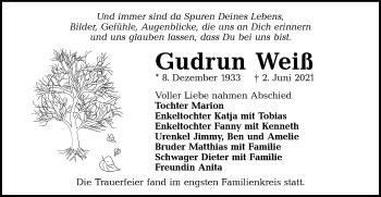 Traueranzeige von Gudrun Weiß von lausitzer_rundschau