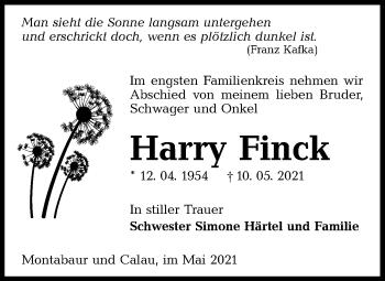 Traueranzeige von Harry Finck von lausitzer_rundschau
