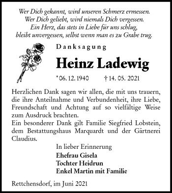 Traueranzeige von Heinz Ladewig von lausitzer_rundschau