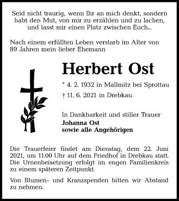 Traueranzeige von Herbert Ost von lausitzer_rundschau