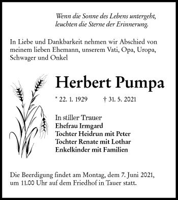 Traueranzeige von Herbert Pumpa von lausitzer_rundschau