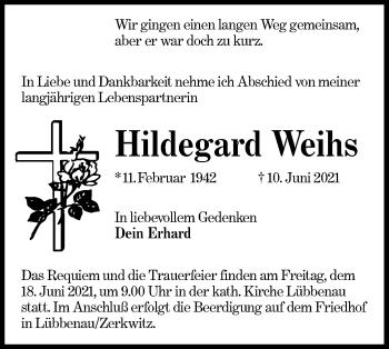 Traueranzeige von Hildegard Weihs von lausitzer_rundschau