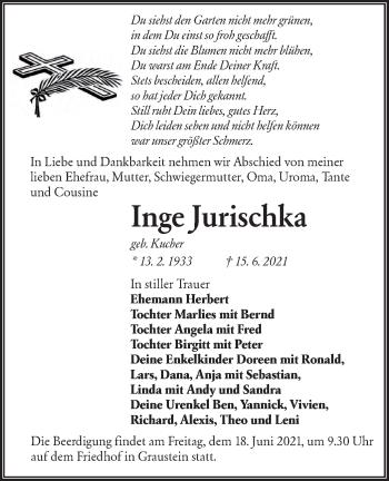 Traueranzeige von Inge Jurischka von lausitzer_rundschau