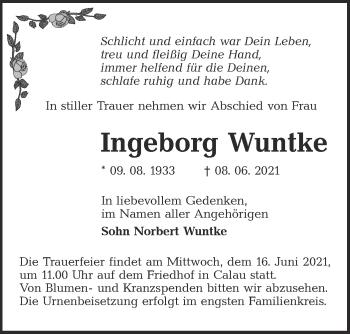 Traueranzeige von Ingeborg Wuntke von lausitzer_rundschau