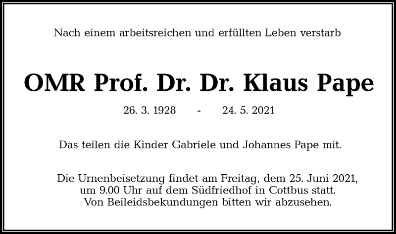 Traueranzeige für Klaus Pape vom 16.06.2021 aus lausitzer_rundschau