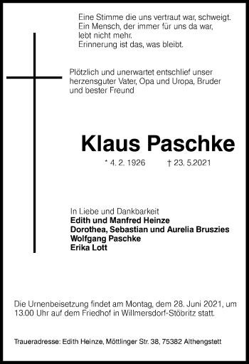 Traueranzeige von Klaus Paschke von lausitzer_rundschau