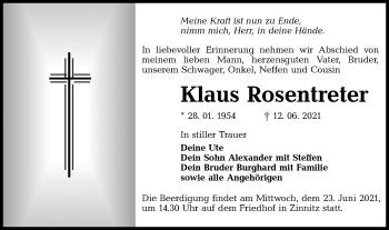 Traueranzeige von Klaus Rosentreter von lausitzer_rundschau