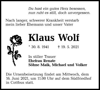 Traueranzeige von Klaus Wolf von lausitzer_rundschau