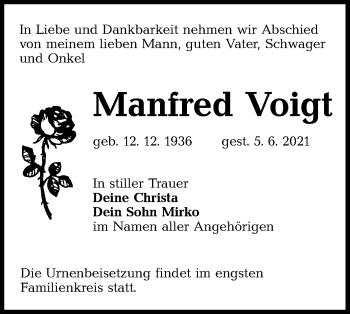 Traueranzeige von Manfred Voigt von lausitzer_rundschau