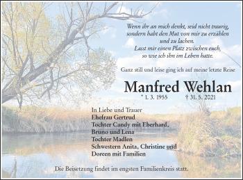 Traueranzeige von Manfred Wehlan von lausitzer_rundschau