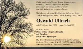 Traueranzeige von Oswald Ullrich von lausitzer_rundschau