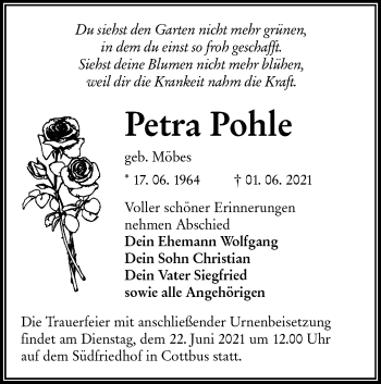 Traueranzeige von Petra Pohle von lausitzer_rundschau