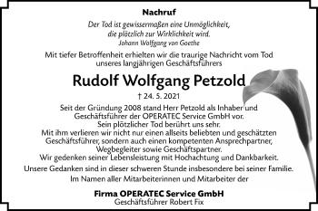 Traueranzeige von Rudolf Wolfgang Petzold von lausitzer_rundschau