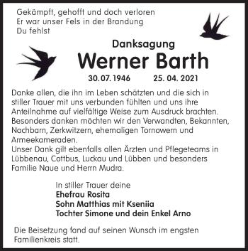 Traueranzeige von Werner Barth von lausitzer_rundschau