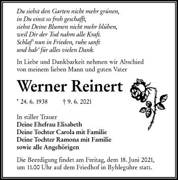 Traueranzeige von Werner Reinert von lausitzer_rundschau