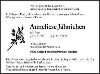 Traueranzeige von Anneliese Jähnichen von lausitzer_rundschau