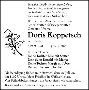 Traueranzeige von Doris Koppetsch von lausitzer_rundschau