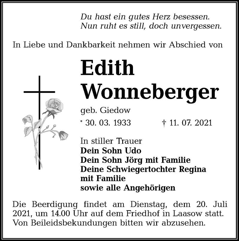 Traueranzeige für Edith Wonneberger vom 17.07.2021 aus lausitzer_rundschau
