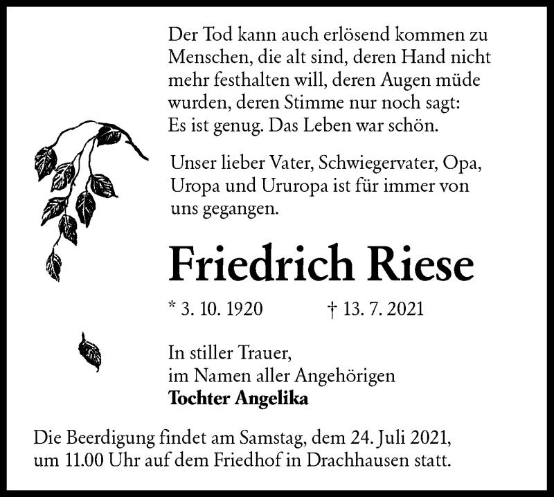 Traueranzeige für Friedrich Riese vom 17.07.2021 aus lausitzer_rundschau