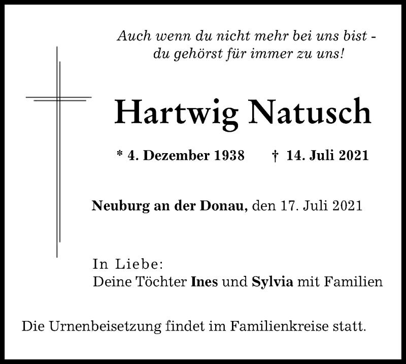 Traueranzeige für Hartwig Natusch vom 17.07.2021 aus lausitzer_rundschau