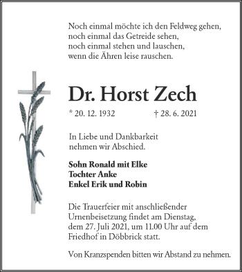 Traueranzeige von Horst Zech von lausitzer_rundschau