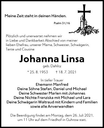 Traueranzeige von Johanna Linsa von lausitzer_rundschau