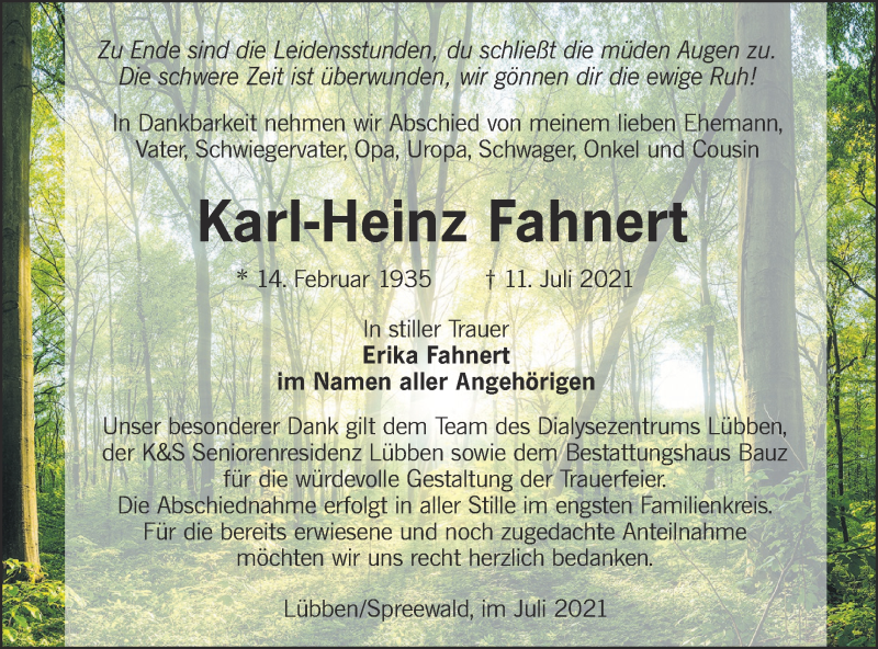 Traueranzeige für Karl-Heinz Fahnert vom 17.07.2021 aus lausitzer_rundschau