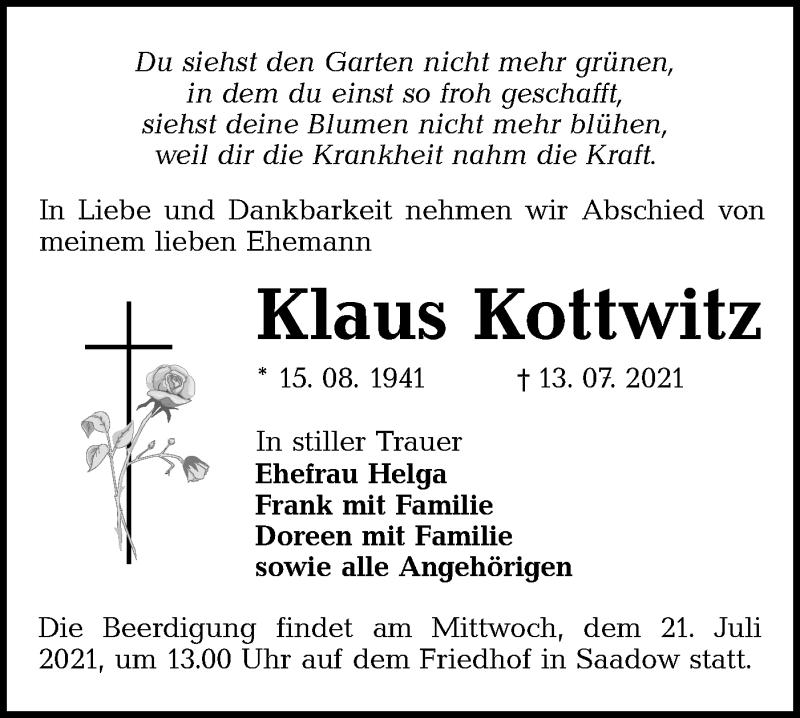 Traueranzeige für Klaus Kottwitz vom 17.07.2021 aus lausitzer_rundschau