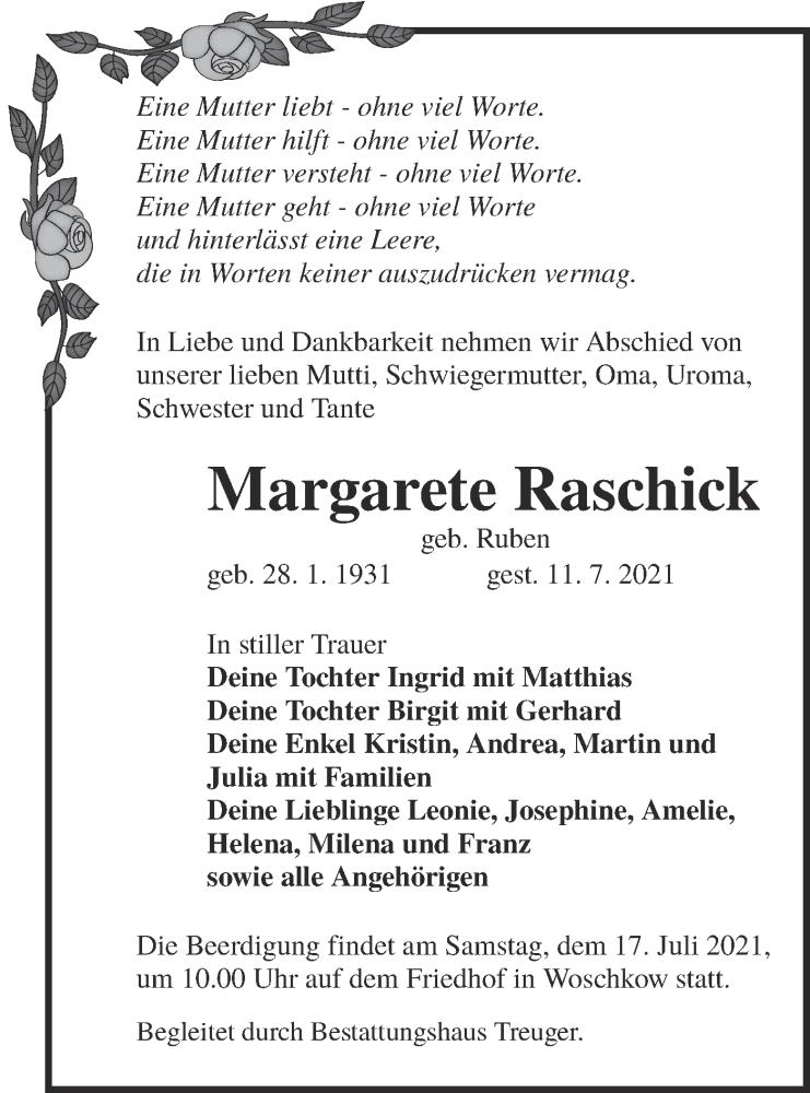Traueranzeige für Margarete Raschick vom 14.07.2021 aus lausitzer_rundschau